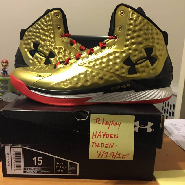 Rare Gold Under Armour Curry One ALL AMERICAN Size 15  88e675b0511f