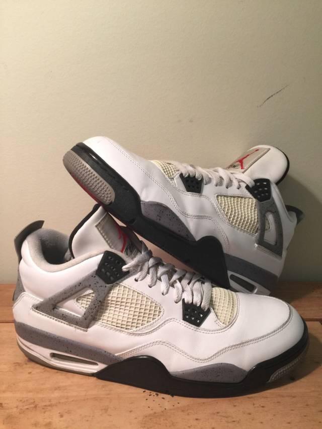 Best Cheap Nike Jordan 4 Cheap sale White Black Cement Grey 3084