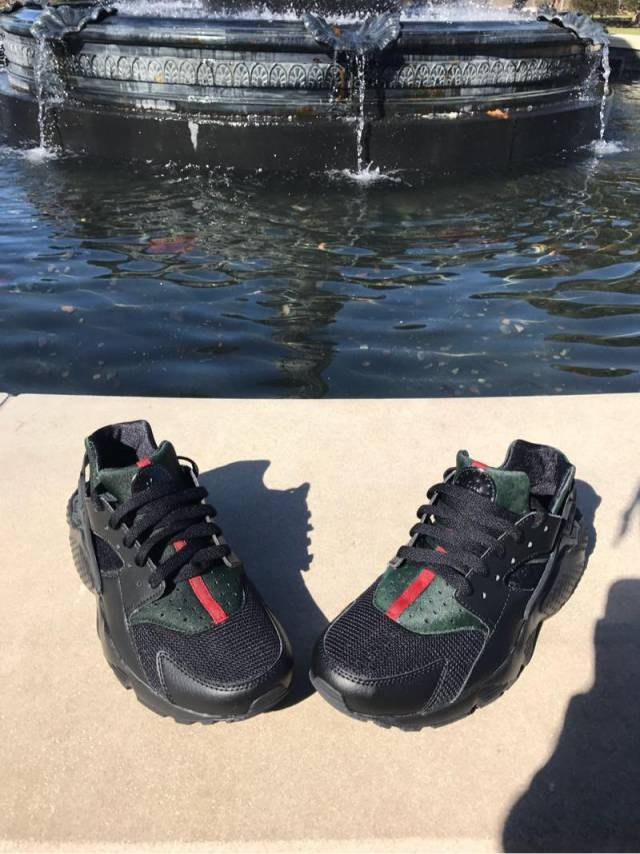 info for c2d42 989bb Black Gucci Huarache