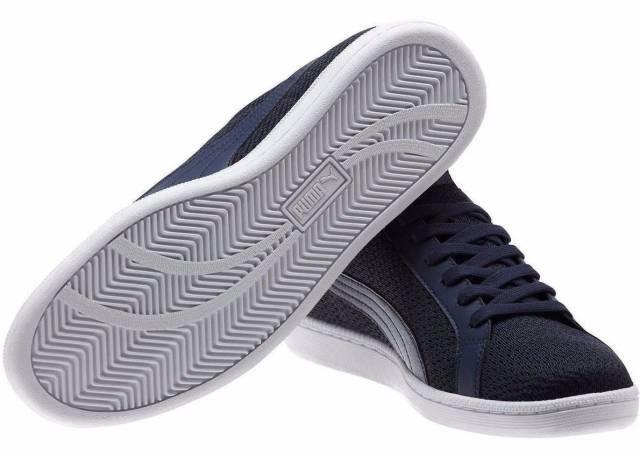 363d112ebda9 PUMA Men s Smash Knit C NAVY White Casual Athletic Sneakers