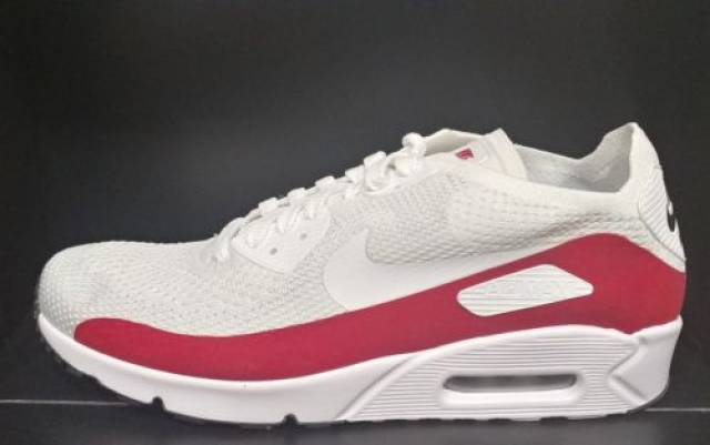 a02d70562345 Nike Air Max 90 UL 2.0 Flyknit Mens (875943-102) White Red Running Shoes  Size 12