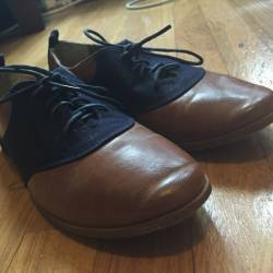 Blue tan oxfords