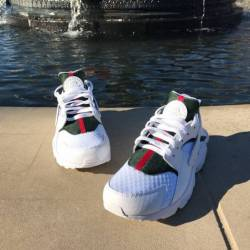 White custom gucci huaraches
