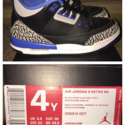 Air jordan 3 sport blue gs