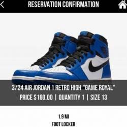 Air jordan 1 game royal size 13
