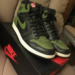 Custom air jordan 1 olive size 11